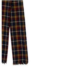 Étoile Isabel Marant - Yellow Plaid Wool Scarf Blue - Lyst