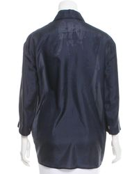 The Row - Blue Printed Silk Top - Lyst