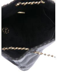 Tory Burch - Metallic Leather Marion Shoulder Bag Black - Lyst