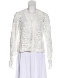 Maje - White Eyelet Lace Casual Jacket - Lyst