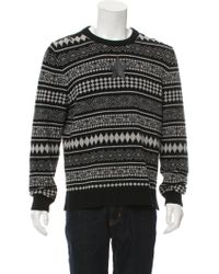 Givenchy | Gray Wool Fair Isle Knit Sweater Black for Men | Lyst