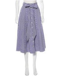 Lisa Marie Fernandez - Blue Gingham Midi Skirt Navy - Lyst