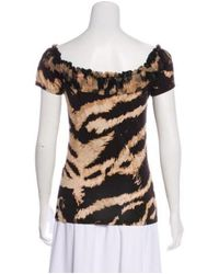 Roberto Cavalli - Brown Short Sleeve Knit Top - Lyst