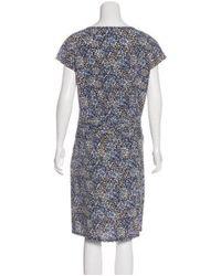 Tory Burch - Blue Printed Silk Dress Navy - Lyst