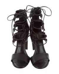 Ruthie Davis - Metallic French Lace-up Sandals Black - Lyst