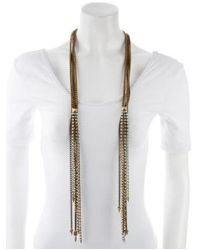 Fallon - Metallic Rhinestone & Chain Multistrand Necklace Gold - Lyst