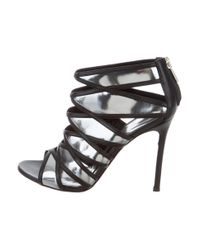 Gianvito Rossi - Gray Metallic Caged Sandals Pewter - Lyst