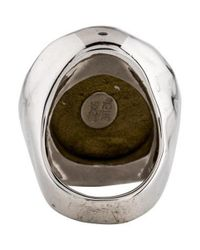 Alexis Bittar - Metallic Domed Lucite Cocktail Ring Silver - Lyst