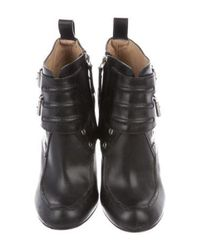 Proenza Schouler - Metallic Leather Ankle Boots Black - Lyst