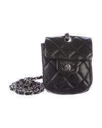 Chanel   Metallic Perforated Mini Flap Bag Black   Lyst