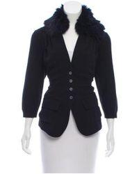 Nina Ricci - Black Fox Fur-trimmed Silk Cardigan - Lyst