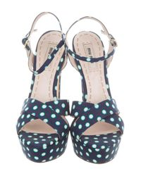 Miu Miu - Blue Polka-dot Sandals - Lyst