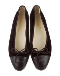 Chanel - Black Velvet Cap-toe Flats - Lyst