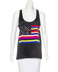 Givenchy - Black American Flag Silk Top - Lyst