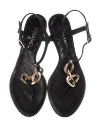 Chanel - Metallic Leather Chain-accented Sandals Black - Lyst