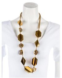 Etro - Metallic Rutilated Quartz Station Necklace Gold - Lyst