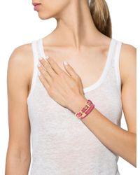 Miu Miu - Metallic Miu Leather Wrap Bracelet Gold - Lyst