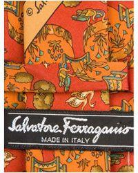 Ferragamo - Red Nature Print Silk Tie for Men - Lyst
