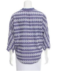 Band of Outsiders - Blue Embroidered Three-quarter Sleeve Top - Lyst