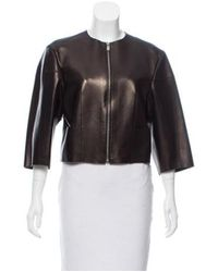 Michael Kors - Brown Leather Zip-up Jacket - Lyst