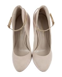 Gianvito Rossi - Metallic Suede Ankle Strap Pumps Beige - Lyst
