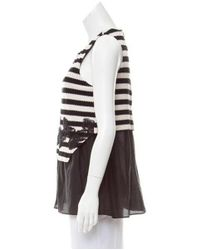 Thakoon - Black Lace-trimmed Striped Top - Lyst