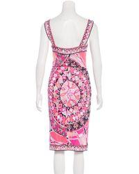 Emilio Pucci - Pink Sleeveless Ornate Print Dress W/ Tags - Lyst