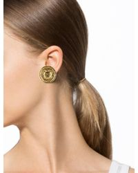 Chanel | Metallic Large Cc Medallion Earrings Gold | Lyst