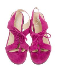 Opening Ceremony - Purple Suede Slingback Sandals - Lyst