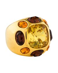 Kenneth Jay Lane - Metallic Large Crystal Cocktail Ring Gold - Lyst