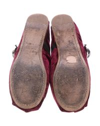 Miu Miu - Red Miu Embellished Velvet Flats - Lyst