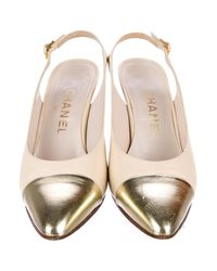 Chanel - Metallic Cap-toe Slingback Pumps Gold - Lyst