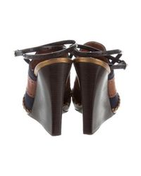 Proenza Schouler - Metallic Perforated Leather Wedges Navy - Lyst