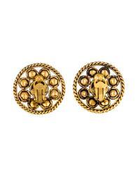 Chanel - Metallic Pearl & Gripoix Clip-on Earrings Gold - Lyst