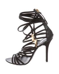 Giambattista Valli - Black Leather Cage Sandals - Lyst