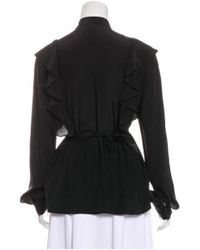 Givenchy - Black Silk Ruffle-accented Blouse - Lyst