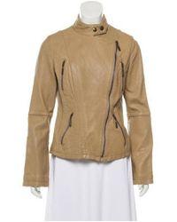 MICHAEL Michael Kors - Natural Michael Kors Leather Moto Jacket Tan - Lyst
