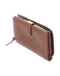 Bottega Veneta - Metallic Intrecciato Leather Wallet Brown - Lyst
