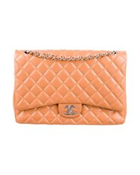 Chanel | Metallic Classic Maxi Double Flap Bag Apricot | Lyst