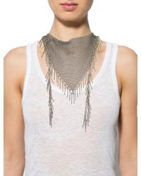 Isabel Marant - Metallic Mesh Bib Necklace Silver - Lyst