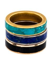 Pamela Love - Metallic Inlay Stack Ring Set Of 3 Gold - Lyst