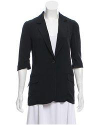 Elizabeth and James - Black Silk Button-up Blazer - Lyst