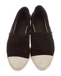 Chanel - Black Cc Canvas Espadrilles - Lyst