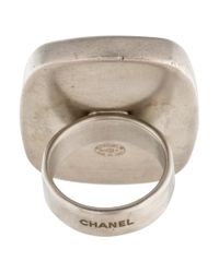 Chanel - Metallic Agate Ring Silver - Lyst