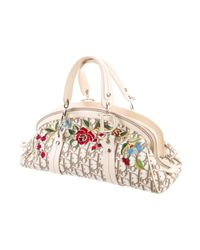 Dior - Metallic Floral Embroidered Handle Bag Brown - Lyst