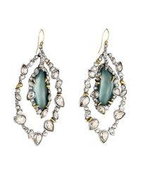 Alexis Bittar - Metallic Jagged Edge Crystal Framed Lucite Earrings Silver - Lyst