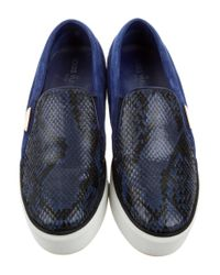 Louis Vuitton | Blue Snakeskin-paneled Slip-on Sneakers | Lyst
