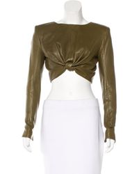 Balmain | Green Leather Crop Top W/ Tags Olive | Lyst