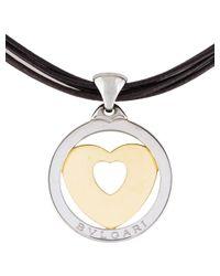 BVLGARI - Metallic Tondo Heart Pendant Necklace Yellow - Lyst