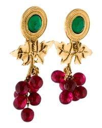 Chanel - Metallic Gripoix Grapevine Earrings Gold - Lyst